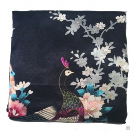 Kimono court satiné imprimé FLEURS & PAON noir (90cm)
