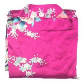 Kimono cache-coeur satiné imprimé FLEURS & PAON fushia (72cm)