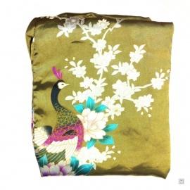 Kimono cache-coeur satiné imprimé FLEURS & PAON vert olive (72cm)
