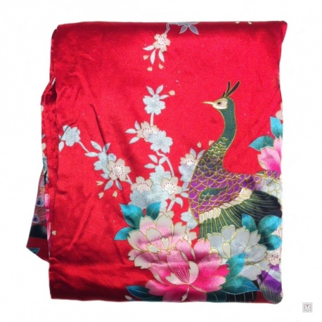 Kimono cache-coeur satiné imprimé FLEURS & PAON rouge (72cm)