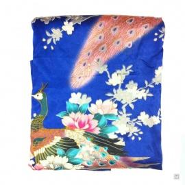 Kimono court satiné imprimé FLEURS & PAON bleu roi (90cm)