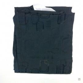 Kimono long noir à motifs et col blanc 100% soie (TU)