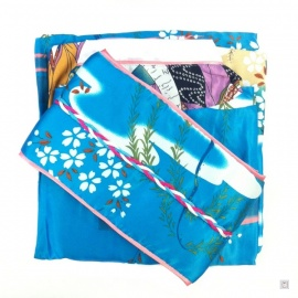 Kimono imprimé GEiShA avec noeud bleu