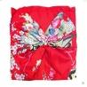 Kimono imprimé GRANdES FLEURS avec noeud rouge foncé