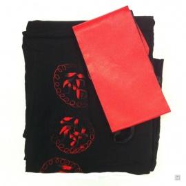 Kimono long noir brodé 3 BONhEURS et DRAGON ROUGE manches carrées 100% soie (TU)