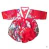 Robe coréenne enfant imprimé FLEURS rouge