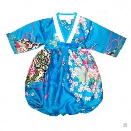 Robe coréenne enfant imprimé FLEURS bleu turquoise