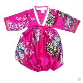 Robe coréenne enfant imprimé FLEURS fushia