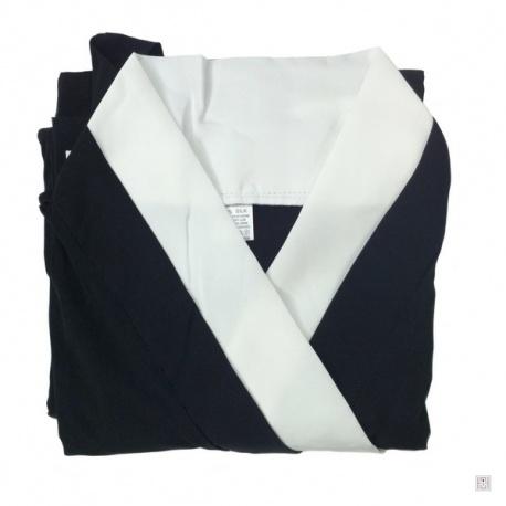 Kimono long noir uni et col blanc 100% soie (TU)