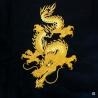 Ensemble chinois Kung-fu / Tai-chi noir brodé DOUBLE DRAGONS doré enfant
