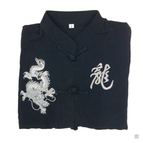 Ensemble chinois Kung-fu / Tai-chi noir brodé DRAGON & KANJi argenté enfant