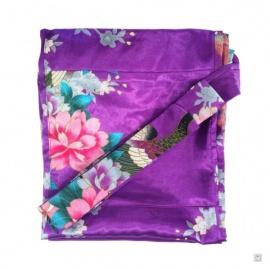 Kimono court satiné 2 poches imprimé FLEURS & PAON violet (90cm)