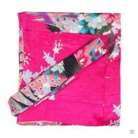 Kimono court satiné 2 poches imprimé FLEURS & PAON fushia (90cm)