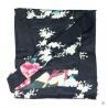 Kimono court satiné 2 poches imprimé FLEURS & PAON noir (90cm)
