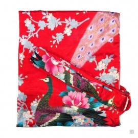 Kimono court satiné 2 poches imprimé FLEURS & PAON rouge (90cm)