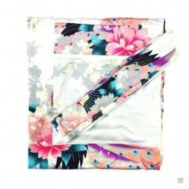 Kimono long satiné réversible 2 poches imprimé FLEURS & PAON blanc (120cm)