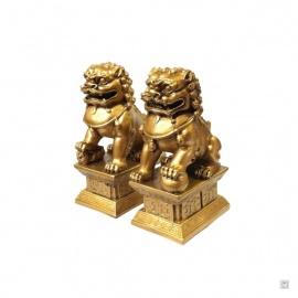Chiens de Foo (石獅 : Protection) sur socle en résine doré (h17cm)