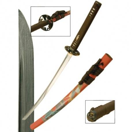 Katana forgé main ChiDORi fourreau gravé et peint à la main (lame KObUSE) coffret complet en bois