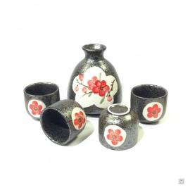 Service à saké UME rouge 5 pièces