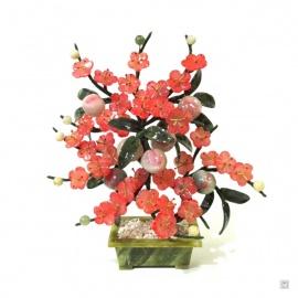 Fleurs de prunier et pêches en JAdE teinté (h30cm)