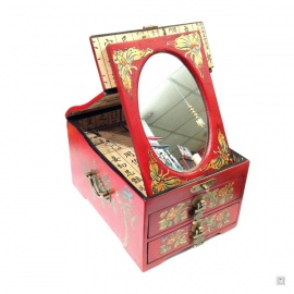 Boîte à bijoux avec miroir et 2 tiroirs FLEURS & OiSEAU (L17xP21xh12cm)