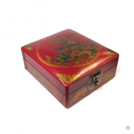 Boîte à bijoux rectangulaire FLEURS et OiSEAUX