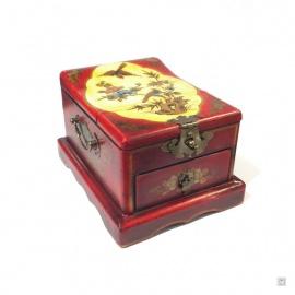 Boîte à bijoux avec miroir et 1 tiroir FLEURS & OiSEAU (L14.5xP19xh11.5cm)