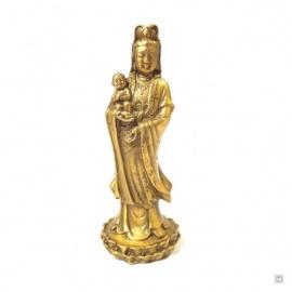 Kwan Yin debout sur lotus en cuivre (h12.5cm)