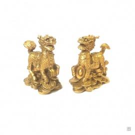Qilin sur lingots et pièces en cuivre (h8.5cm)