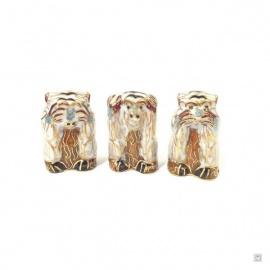 3 singes en cloisonné blanc (h4cm)