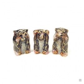 3 singes en cloisonné noir (h4cm)