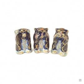 3 singes en cloisonné bleu nuit (h4cm)